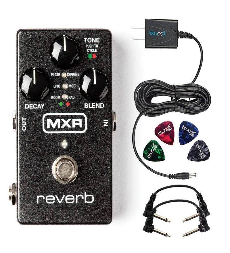 "MXR M300 Reverb Pedal Bundle with 2-Pack of Hosa CFS-106 6"" Guitar Patch Cables, Blucoil Power Supply Slim AC/DC Adapter for 9 Volt DC 670mA and 4-Pack of Guitar Picks"