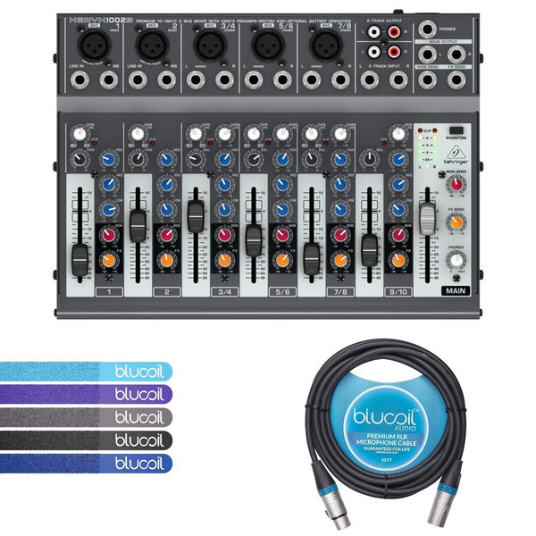 Behringer XENYX 1002B 2-Bus Mixer with 3-Band EQ, Mic Preamps Bundle with Blucoil 10-Ft Balanced XLR Cable and 5 Pack of Cable Ties