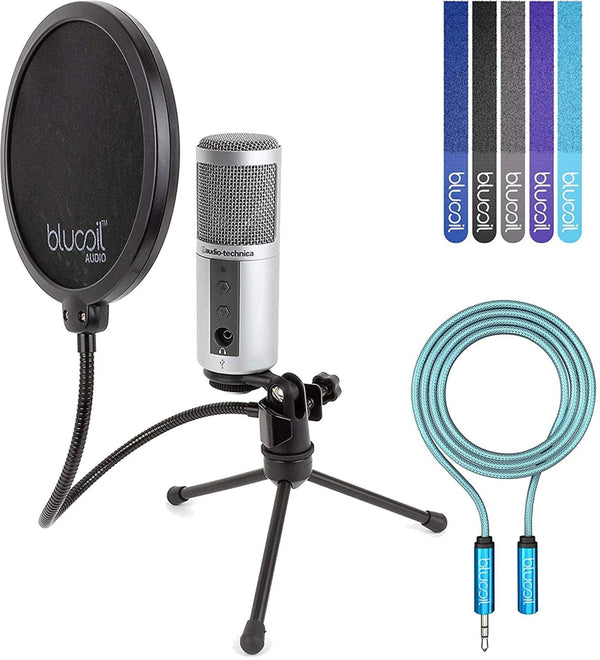 Audio-Technica ATR2500-USB Cardioid Condenser USB Microphone Bundle with Blucoil Pop Filter, 6-Ft Headphone Extender, and 5-Pack of Reusable Cable Ties