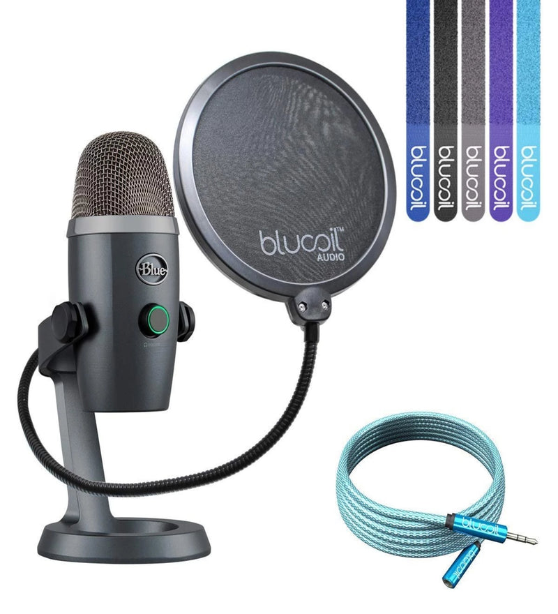 Blue Microphones Yeti Nano USB Mic for VoIP Conference, Podcasting (Shadow Grey) Bundle with Blucoil 6-Ft Extension Cable, Pop Filter Windscreen and 5-Pack of Cable Ties