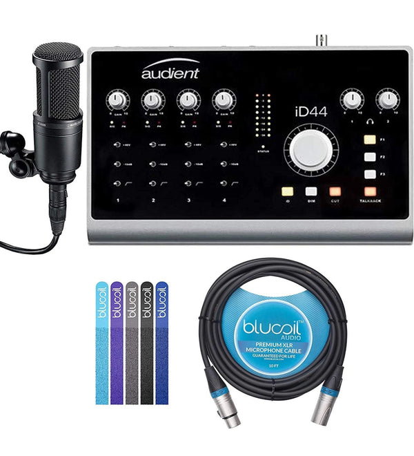 Audient ID4 Audio Interface Bundle with USB 2.0 Type-A to Type-B Cable, Audio-Technica AT2020 Cardioid Condenser Microphone, Blucoil 10-FT Balanced XLR Cable, and 5-Pack of Reusable Cable Ties