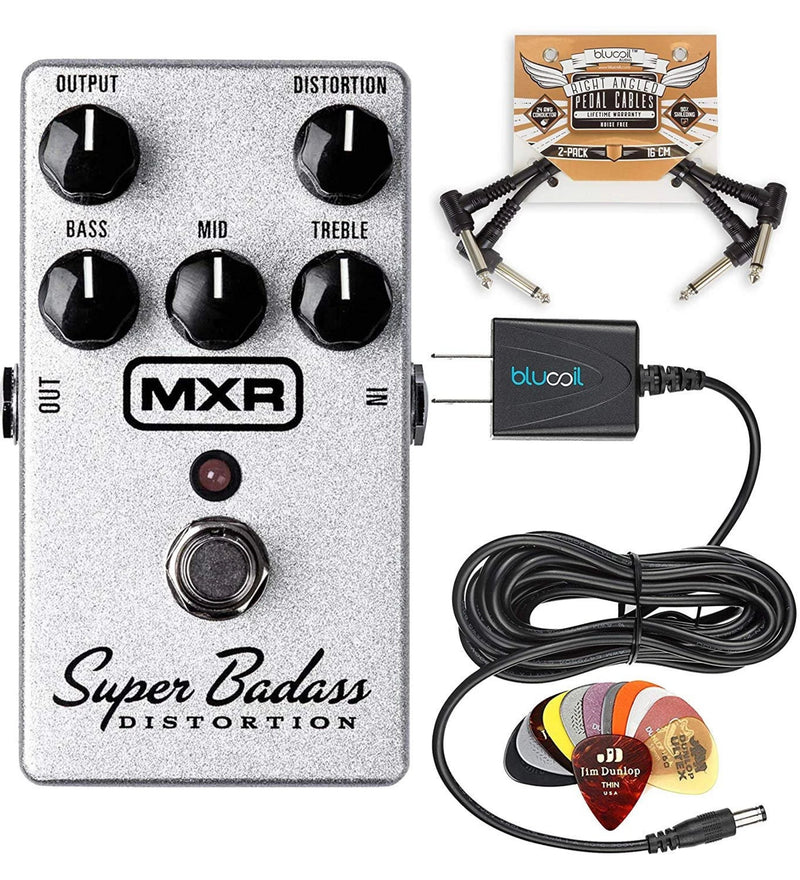 MXR M75 Super Badass Distortion Bundle with 12 Pack of Dunlop PVP101 Guitar Picks, Blucoil Slim 9V Power Supply AC Adapter, and 2-Pack of Pedal Patch Cables