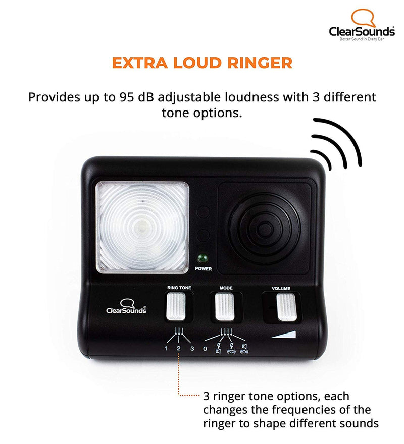 ClearSounds CR200 ClearRing Ring Signaler Booster with LED Strobe Ringer for Analog Landline Phones