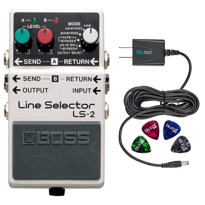 BOSS LS-2 Line Selector Master Switch Box Pedal Bundle with Blucoil Power Supply Slim AC/DC Adapter for 9 Volt DC 670mA and 4 Guitar Picks