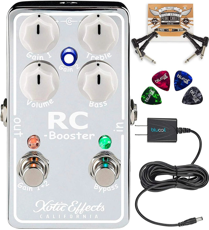 Xotic RC Booster V2 Effects Pedal with Active EQ Bundle with Blucoil Slim 9V 670ma Power Supply AC Adapter, 2-Pack of Pedal Patch Cables, and 4-Pack of Celluloid Guitar Picks