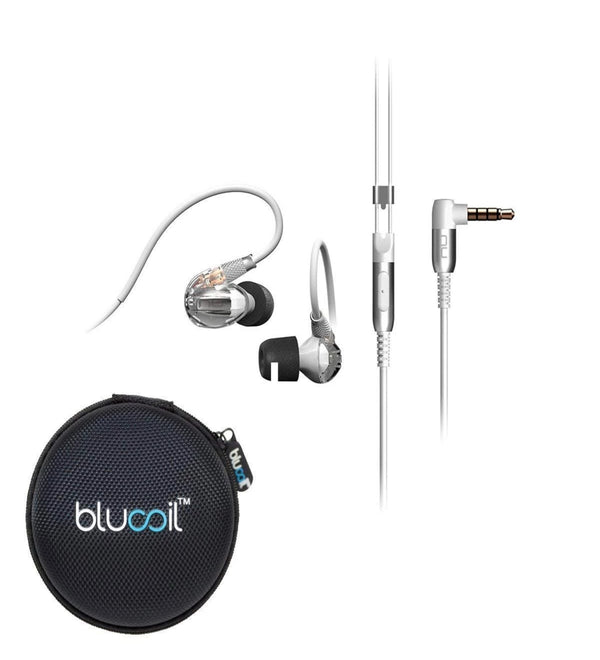 NuForce Hem Dynamic Noise Isolating in-Ear Monitor Earphones Built-in Microphone, in-line Remote (Crystal White) -Includes- Blucoil Portable Headphone Hard Case