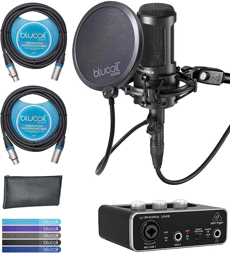 Audio-Technica AT2050 Multi Pattern Microphone Bundle with Behringer U-PHORIA UM2 USB Audio Interface with 48V Phantom Power, Blucoil 2-Pack of 10-FT Balanced XLR Cables, 5x Cable Ties, and Pop Filter