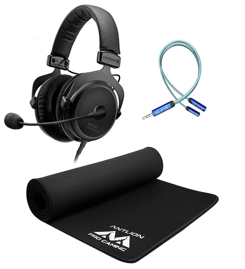 Beyerdynamic MMX 300 2nd Generation Premium Gaming Headset Bundle with Antlion Audio Wide Mousepad, iFi Ear Buddy Audio Attenuator 3.5mm, and Blucoil 6' 3.5mm Extension Cable - Gaming Bundle