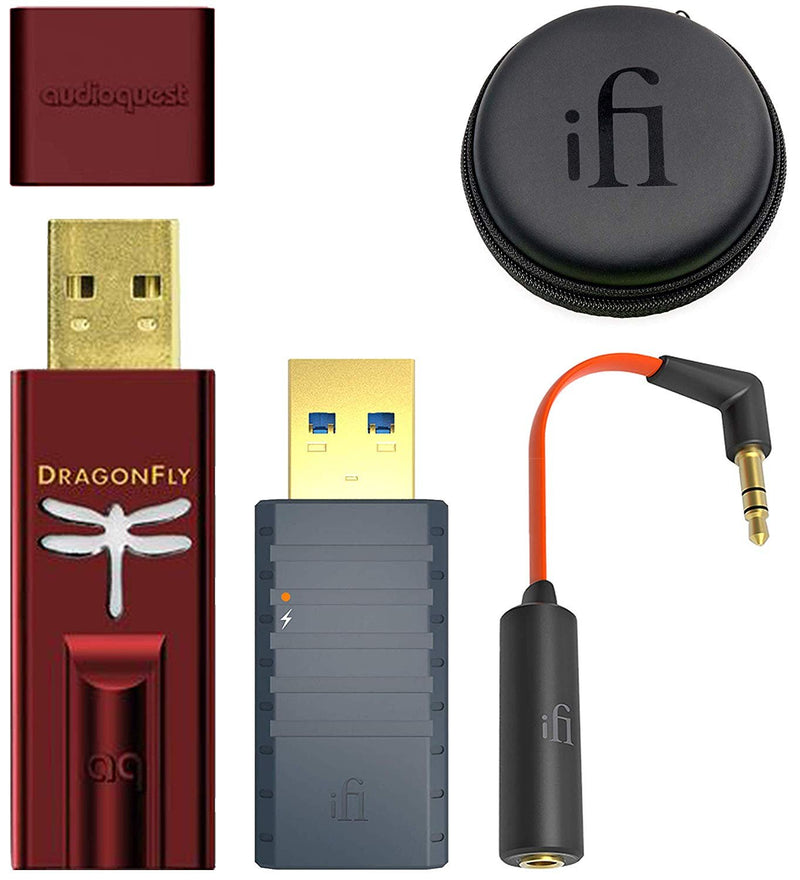 AudioQuest Dragonfly Red USB DAC/Headphone Amplifier/Preamp Bundle with iFi iSilencer 3.0 EMI Noise Suppressor and Ear Buddy Attenuator Cable for Headphones, in-Ear Monitors