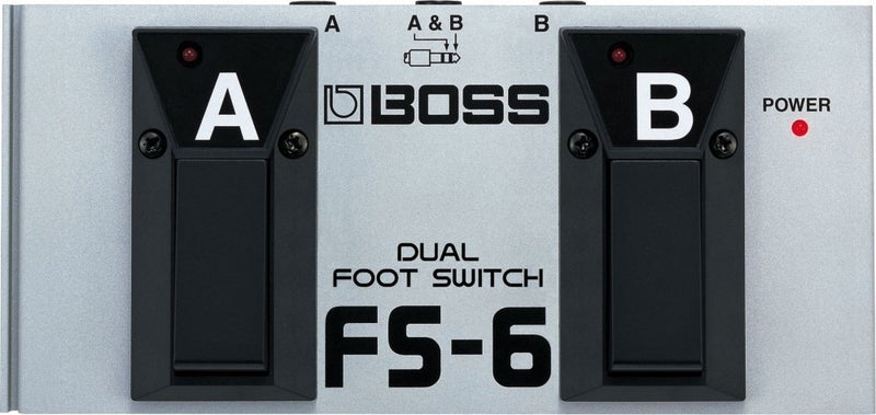Boss FS-6 Dual Latch and Momentary Foot Switch Pedal - INCLUDES - Blucoil Power Supply Slim AC/DC Adapter for 9 Volt DC 670mA
