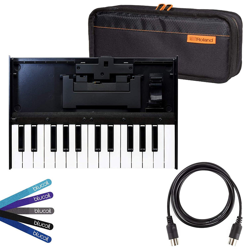 Roland K-25m Boutique Keyboard Bundle with CB-BRB1 Carrying Bag for Roland Boutique Instruments Blucoil 5-Ft MIDI Cable, and 5-Pack of Reusable Cable Ties