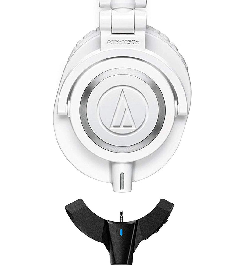 Audio-Technica ATH-M50xWH Dynamic Headphones (White) Bundle with FiiO BTA10 Bluetooth Adapter and Portable Headphone Amplifier for Audio Technica M50x-Series