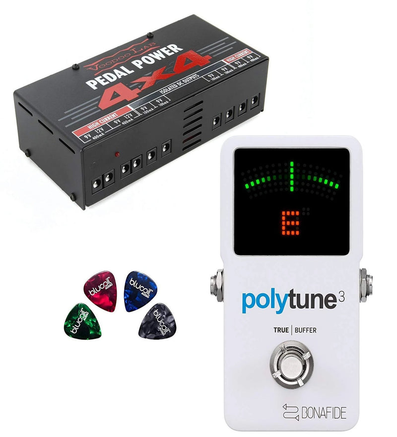 TC Electronic PolyTune 3 Polyphonic Tuner with Bonafide Buffer Bundle with Voodoo Lab Pedal Power 4x4 Linear Power Supply and 4-Pack of Blucoil Guitar Picks