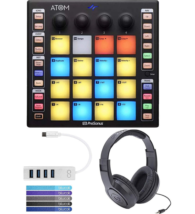 PreSonus ATOM Music Production Controller Bundle with MVP Loops, Studio One Artist Software, Samson SR350 Headphones, Blucoil Mini USB Type-C Hub with 4 USB Ports, and 5x Cable Ties