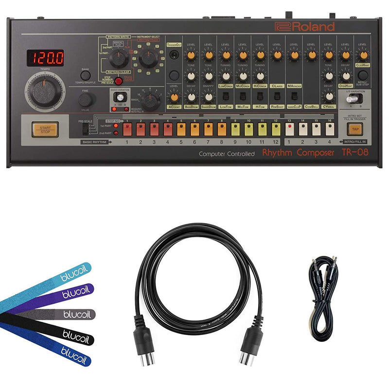 Roland TR-08 Rhythm Composer Sound Module Bundle with Pipeline PLET1B Dual 3.5mm Headphone Cable, Blucoil 5-Ft MIDI Cable, and 5-Pack of Reusable Cable Ties
