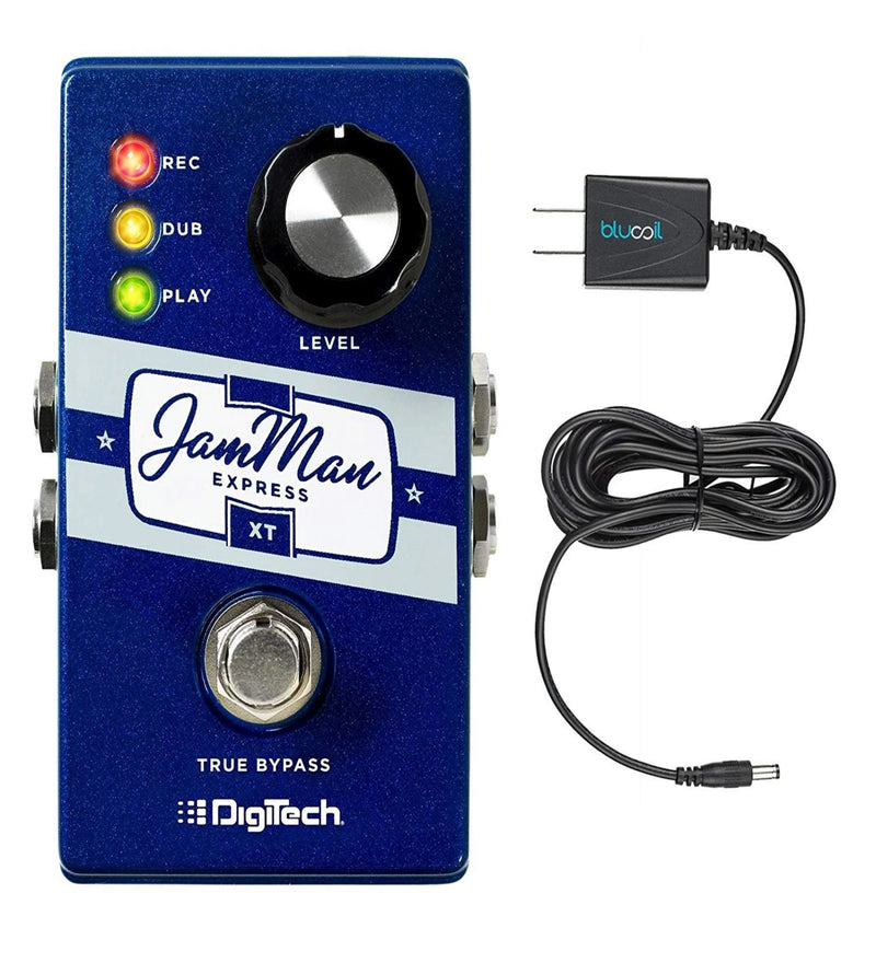 DigiTech JMEXTV JamMan Express XT Compact Stereo Looper Pedal with True Bypass Switch Bundle with Blucoil Power Supply Slim AC/DC Adapter for 9 Volt DC 670mA