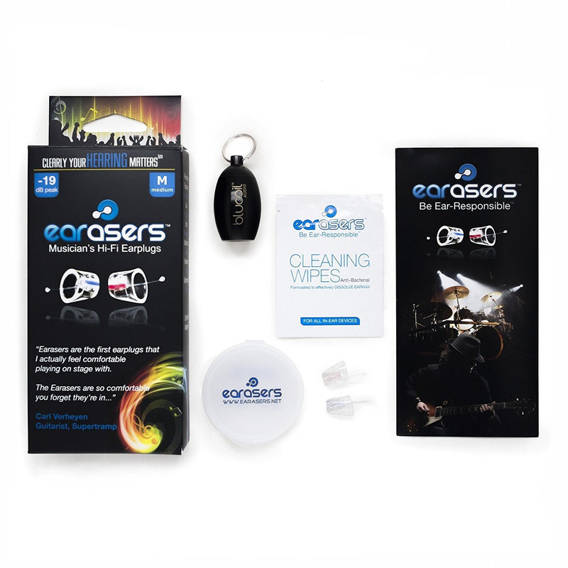 Earasers High Fidelity Musician's Ear Plugs - Includes - Blucoil Limited Edition Black Carrying Case (Medium)