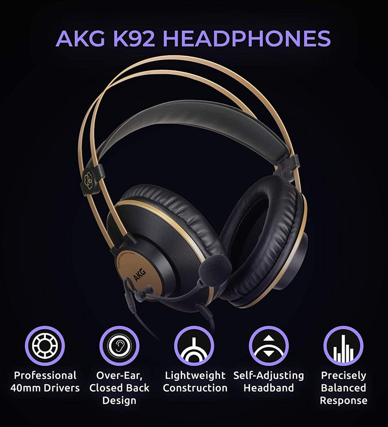 AKG K92 Closed Back Studio Headphones Bundle with Antlion Audio ModMic 4 with Mute Switch, and Blucoil Y Splitter for Audio, Mic