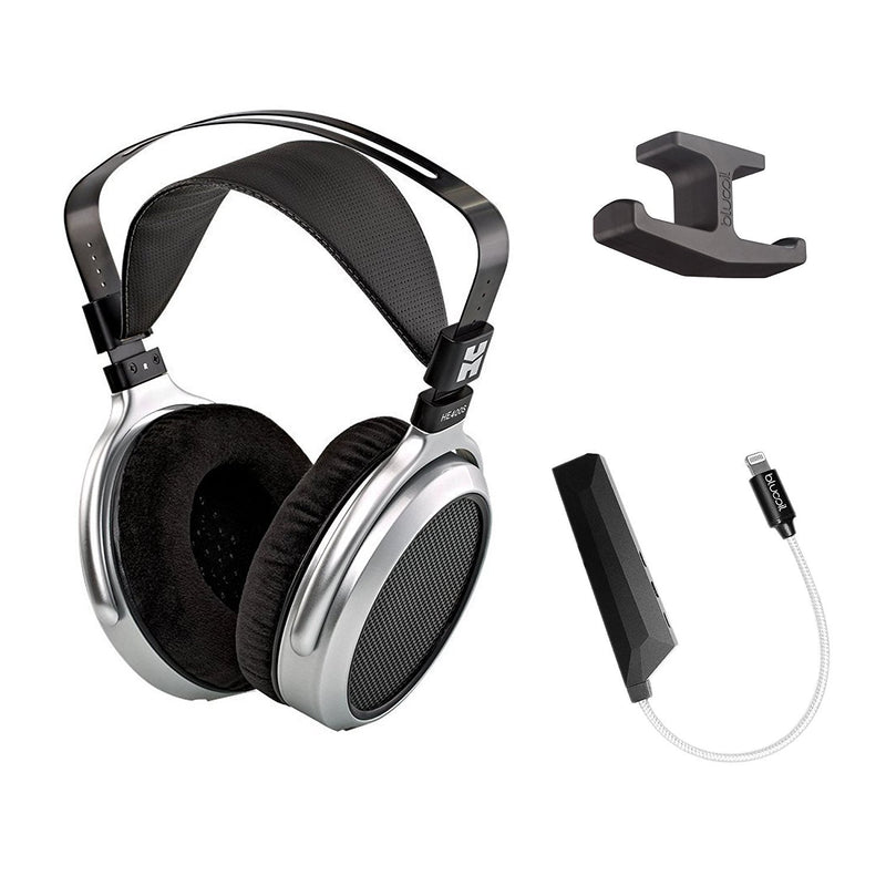HIFIMAN HE400S Planar Magnetic Headphones Bundle with Blucoil Aqua Portable Battery-Free, in-Line Headphone DAC/Amplifier and Under-Desk Headphone Hook