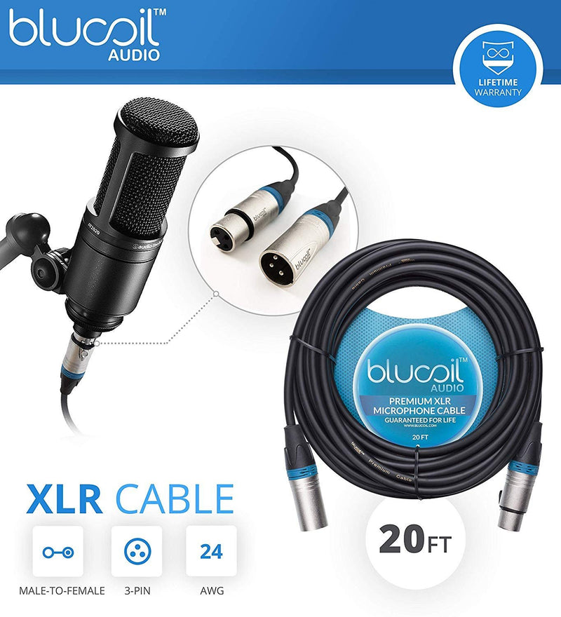 Audio-Technica ATW-1102 System 10 Digital Wireless Systems Bundle with Blucoil 20-FT Balanced XLR Cable, 2-Pack of 10-FT Balanced XLR Cables, 5-Pack of Reusable Cable Ties, and 4 AA Batteries