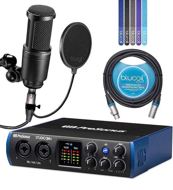 PreSonus Studio 24c USB-C Audio Interface Bundle with Studio One Artist Software, Studio Magic Plug-In Suite, Audio-Technica AT2020 Condenser Mic, Blucoil 10' XLR Cable, Pop Filter, and 5x Cable Ties