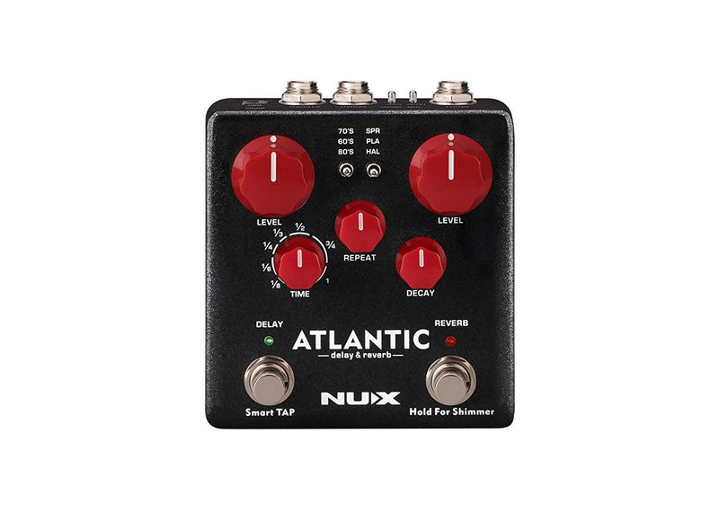 NUX NDR-5 Atlantic Delay and Reverb Pedal Bundle with Hosa 5-Ft CPP-105 Unbalanced Audio Cable, Blucoil 9V DC Power Supply, 2-Pack of Pedal Patch Cables and 4-Pack of Celluloid Guitar Picks