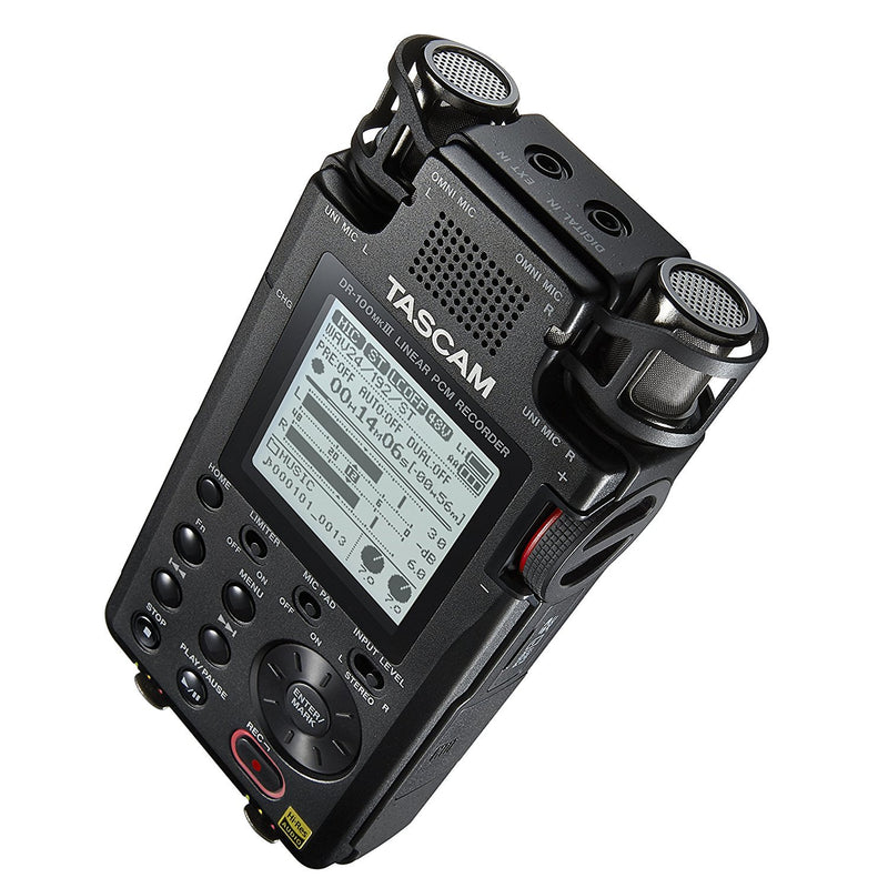 TASCAM DR-100mkIII Portable Recorder with Linear PCM Compatibility Bundle with Blucoil Audio 10' Balanced XLR Cable and 2-Pack of AA Batteries