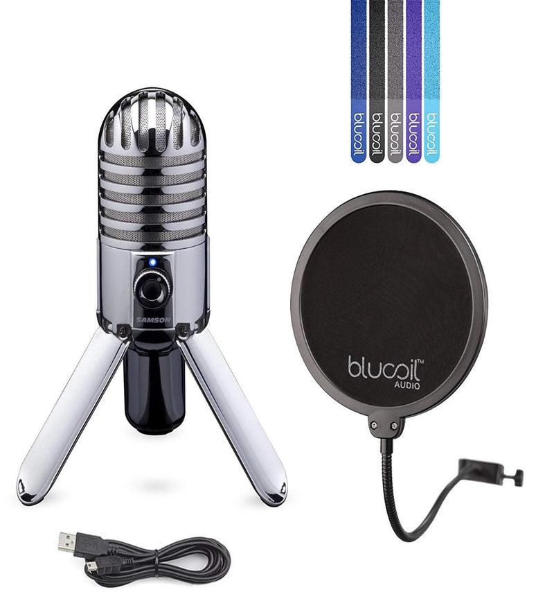 Samson Meteor Mic USB Cardioid Microphone with Mute Switch for Studio Recording (Chrome) Bundle with Blucoil Pop Filter and 5-Pack of Reusable Cable Ties