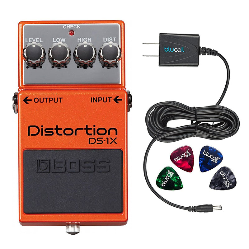 BOSS DS-1X Distortion Effects Pedal Bundle with Blucoil Power Supply Slim AC/DC Adapter for 9 Volt DC 670mA with US Plug and 4 Guitar Picks