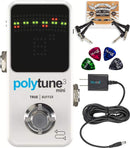 TC Electronic PolyTune 3 Mini Polyphonic Tuner Pedal with BonaFide Buffer Bundle with Blucoil Slim 9V 670ma Power Supply AC Adapter, 2-Pack of Pedal Patch Cables, and 4-Pack of Celluloid Guitar Picks