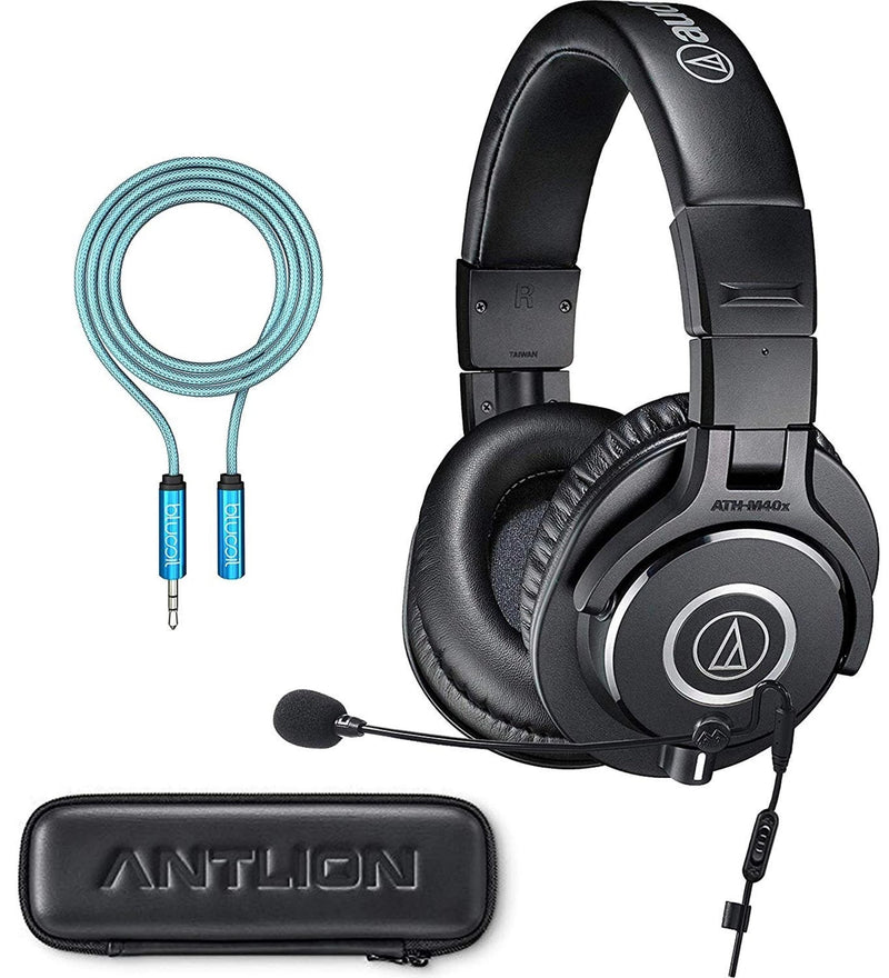 Audio-Technica ATH-M40x Gaming Headphones Bundle with Antlion ModMic 4.0 Uni-Directional Attachable Boom Microphone with Mute Switch and Blucoil Audio Premium Headphone 3.5mm Extension Cable