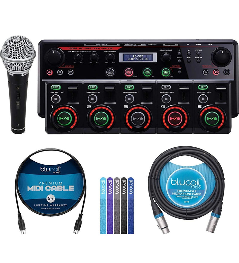 BOSS RC-505 Loop Station with USB Audio MIDI Interface Bundle with Power Supply AC Adapter, Samson R21S Cardioid Dynamic Microphone, Blucoil 10-FT Balanced XLR Cable, 5' MIDI Cable, and 5x Cable Ties