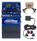 DigiTech JMSXT JamMan Solo XT Stereo Looping Pedal Bundle with JamManager XT Librarian Software, Blucoil Power Supply Slim AC/DC Adapter for 9V DC 670mA, 2 Pedal Patch Cables and 4 Guitar Picks