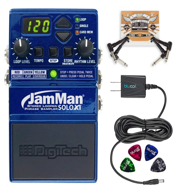 DigiTech JMSXT JamMan Solo XT Stereo Looper + JamManager XT Librarian Software + Blucoil 9V AC Adapter + 2x Patch Cables