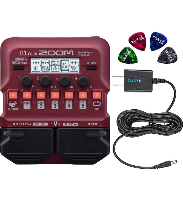 Zoom B1 FOUR Bass Multi Effects Pedal with Chromatic Tuner Bundle with Guitar Lab Software, 4 AA Batteries, Blucoil Slim 9V 670ma Power Supply AC Adapter, and 4-Pack of Celluloid Guitar Picks