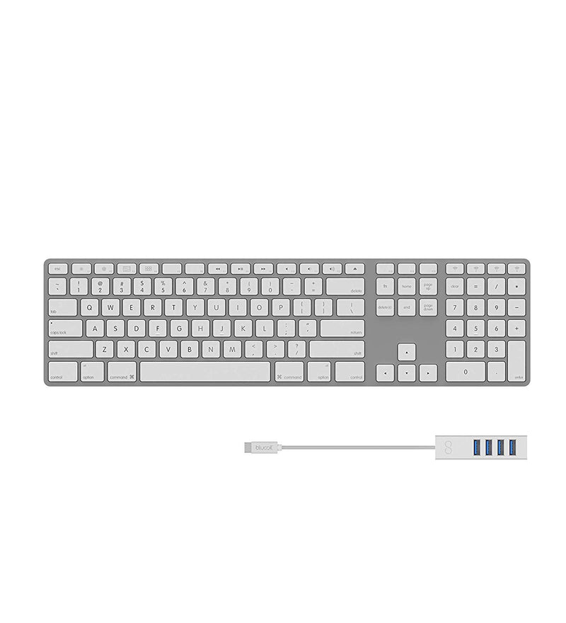Matias FK418BTS Wireless Aluminum Keyboard for Mac or PC Through Bluetooth Bundle with Blucoil Mini USB Type-C Hub with 4 USB Ports