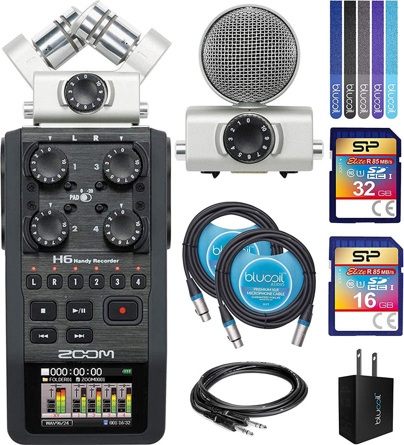 "Zoom H6 Handy Recorder Bundle with Silicon Power 16GB & 32GB Class 10 SD Cards, Hosa 3' Straight Instrument Cable (1/4""), Blucoil USB Wall Adapter, 2x 10' XLR Cables, 6' Aux Cable and 5x Cable Ties"