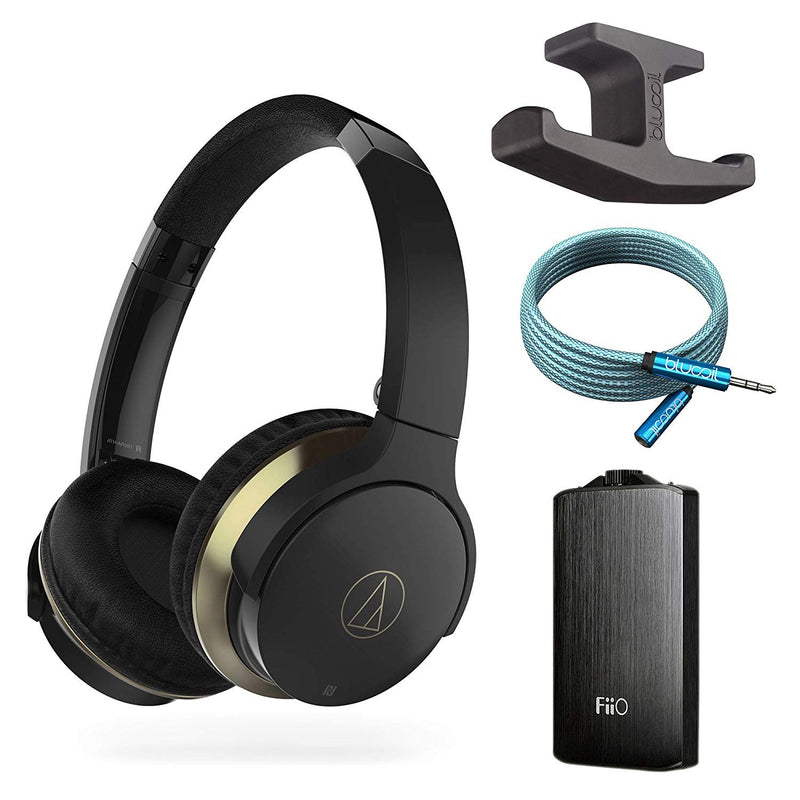 Audio Technica ATH-AR3BTBK SonicFuel Wireless Bluetooth On-Ear Headphones Bundle with FiiO A3 Black Portable Headphone Amplifier, Blucoil Under-Desk Headphone Hook and 6-Ft Earphone Extension Cable