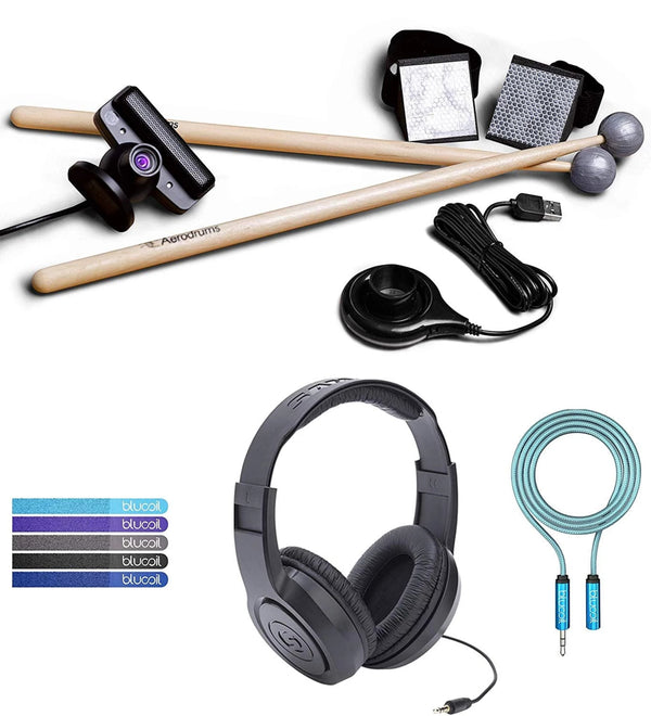 Aerodrums Air Drumming Percussion Instrument with API Audio Support Bundle with Aerodrum Software, Samson SR350 Over-Ear Headphones, Blucoil 6-FT Headphone Extension Cable (3.5mm), and 5x Cable Ties
