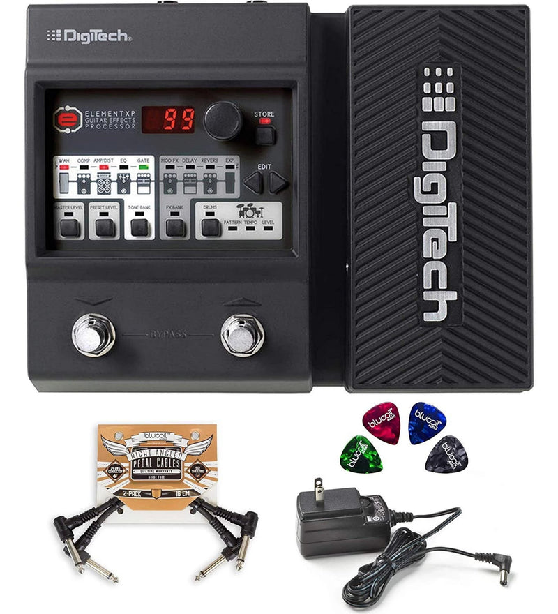 DigiTech Element XP Multi-Effects Processor with Expression Pedal Bundle with Blucoil 2-Pack of Pedal Patch Cables and 4-Pack of Celluloid Guitar Picks