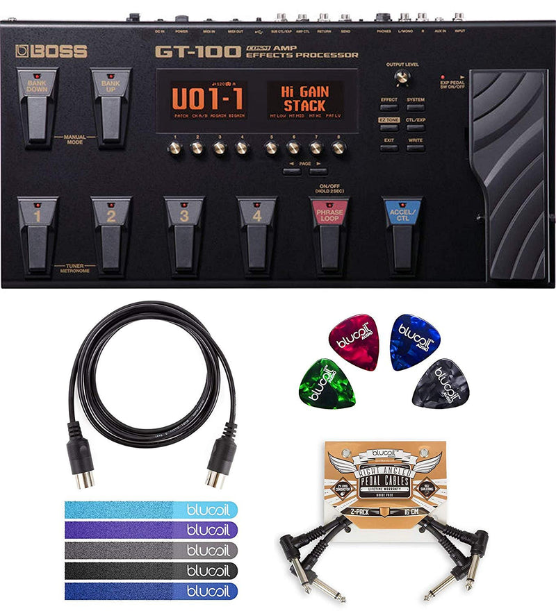BOSS GT-100 Guitar Multi-Effects Pedal Bundle with Blucoil 5-Ft MIDI Cable, Pedal Patch Cables (2-Pack), Celluloid Guitar Picks (4 Pack) and 5-Pack of Cable Ties