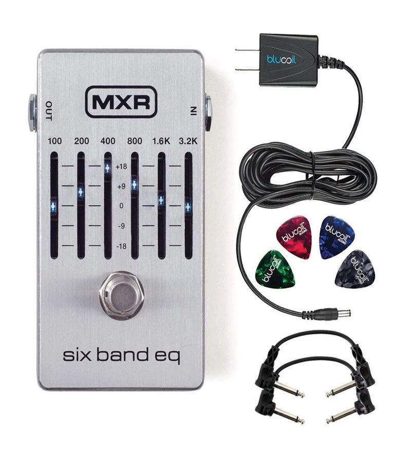 "MXR M109S Six Band EQ Pedal with True Bypass Bundle with 2-Pack of Hosa CFS-106 6"" Guitar Patch Cables, Blucoil Power Supply Slim AC/DC Adapter for 9 Volt DC 670mA and 4-Pack of Guitar Picks"