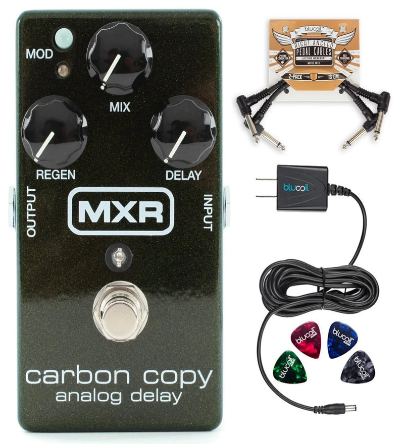 MXR M169 Carbon Copy Analog Delay Pedal Bundle with Blucoil Slim 9V 670ma Power Supply AC Adapter, 2-Pack of Pedal Patch Cables and 4-Pack of Celluloid Guitar Picks