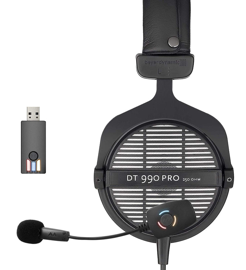 Beyerdynamic DT 990 PRO 250 Ohm Monitoring Headphones + Antlion Audio ModMic Wireless Attachable USB Microphone