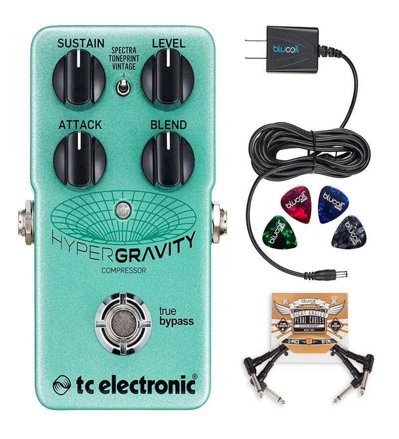 TC Electronic HyperGravity Compressor with TonePrint Bundle with Blucoil Slim 9V 670ma Power Supply AC Adapter, 2-Pack of Pedal Patch Cables and 4-Pack of Celluloid Guitar Picks
