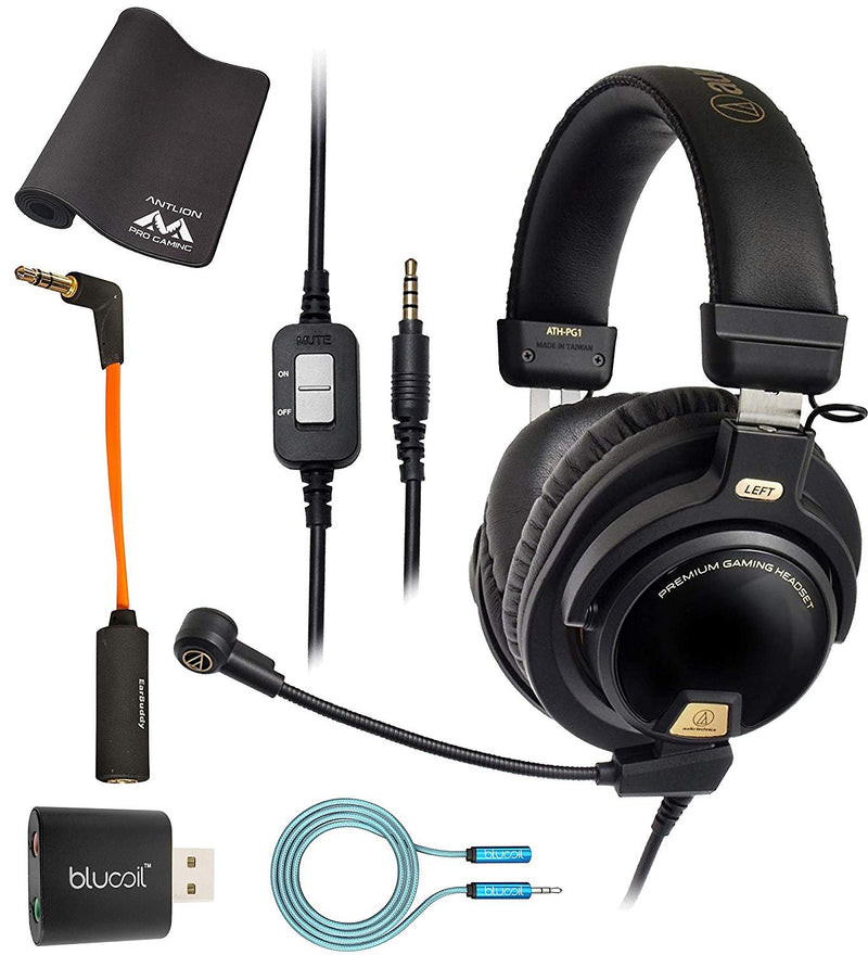 Audio-Technica ATH-PG1 Gaming Headset for PC, PS4, Mobile Phones Bundle with iFi Ear Buddy Audio Attenuator 3.5mm, Antlion Audio Wide Mousepad, Blucoil USB Audio Adapter, and 6' 3.5mm Extension Cable