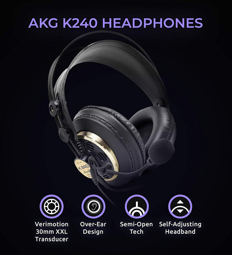 AKG K240STUDIO Semi-Opened Studio Headphones Bundle with Antlion Audio ModMic 4 with Mute Switch, and Blucoil Y Splitter for Audio, Mic