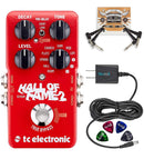 TC Electronic Hall of Fame 2 Reverb Pedal with TonePrint Bundle with Blucoil Power Supply Slim AC/DC Adapter for 9 Volt DC 670mA, 2-Pack of Pedal Patch Cables and 4-Pack of Celluloid Guitar Picks