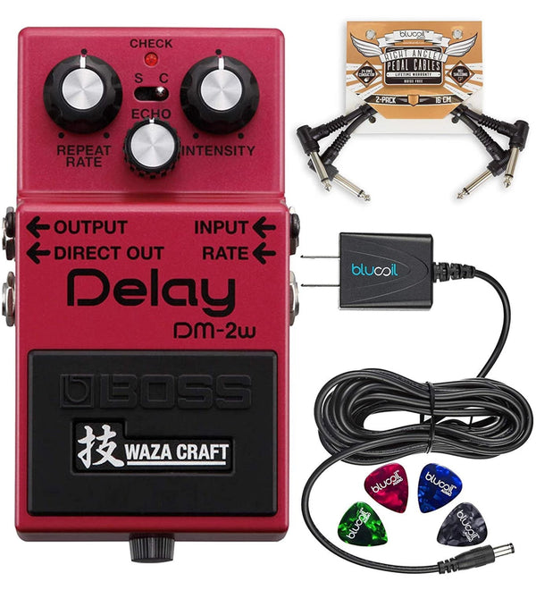 BOSS DM-2W Waza Craft Analog Delay Pedal + Blucoil 9V AC Adapter + 2x Patch Cables + 4x Guitar Picks