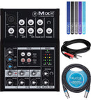 Mackie Mix12FX Mixer with 4 Low Noise Mic Preamps, 12-Channel Bundle with Hosa Tech CMP-159 10-Ft Stereo Breakout Cable, Blucoil 10-Ft XLR Cable and 5-Pack of Cable Ties